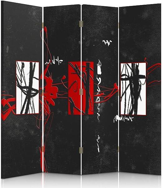 Feeby Frames Biombo Impreso Sobre Lona, tabique Decorativo para Habitaciones, a Doble Cara, de 4 Piezas, 360° (145x180 cm), ABSTRACCIÓN, GARABATOS, Manchas, Rojo, Blanco, Negro: Amazon.es: Hogar