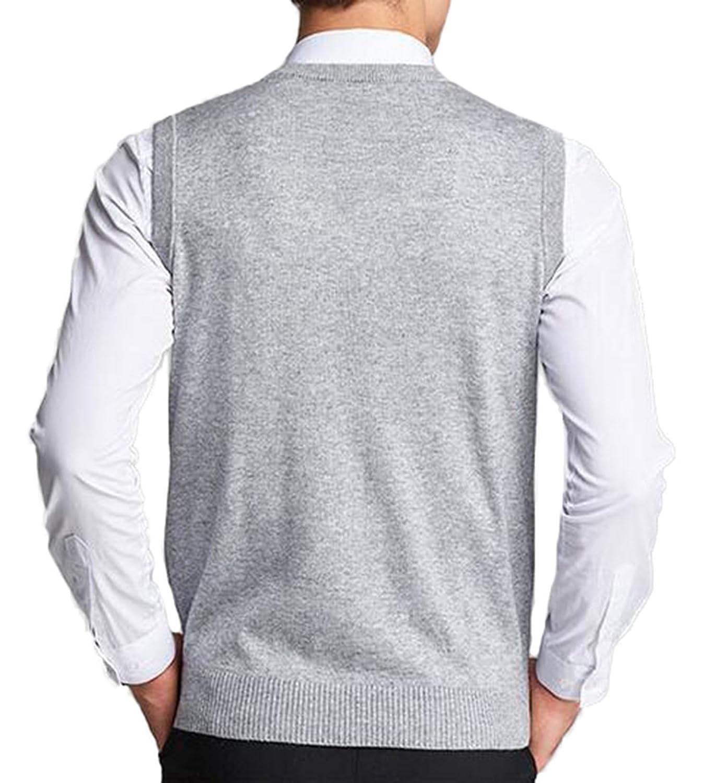 b9cb1044441b3c UP Herren V-Ausschnitt Slim Fit Argyle Muster Pullunder Wollweste  Strickweste Weste