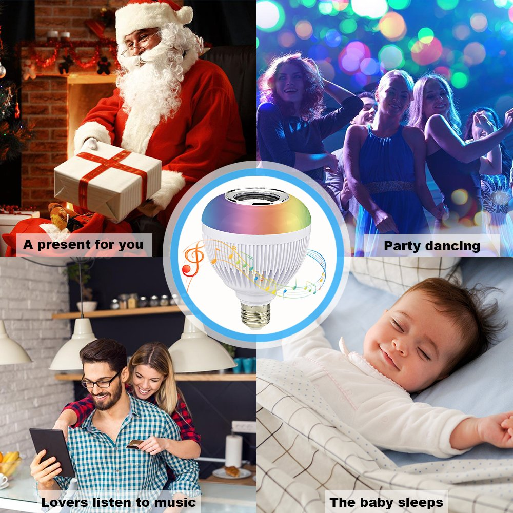iPad and Android Phones for Party Holiday RAYWAY Smart LED Music Light with Bluetooth Speaker E27 Dimmable Color Changing RGB Wireless Bulb APP Works with Apple iPhone