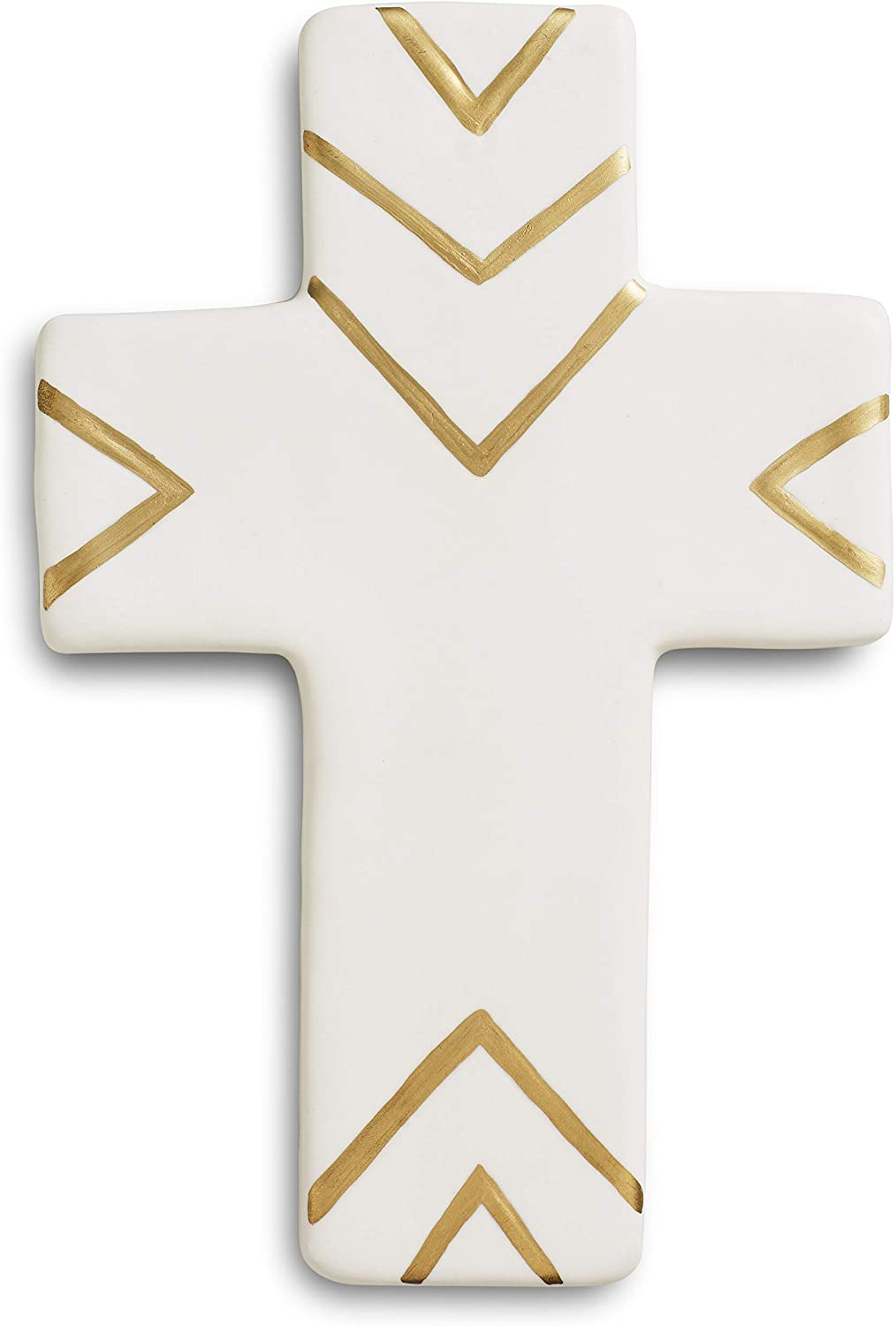 Decorative Hand Painted Contemporary Ceramic Hanging Wall Cross. White & Gold Christian Cross Wall Decor In Modern Style. Perfect Cross For Wall Decorations, Religious Home Decor, Gift Idea For Birthdays, Easter, Christmas, Weddings or Any Occasion.