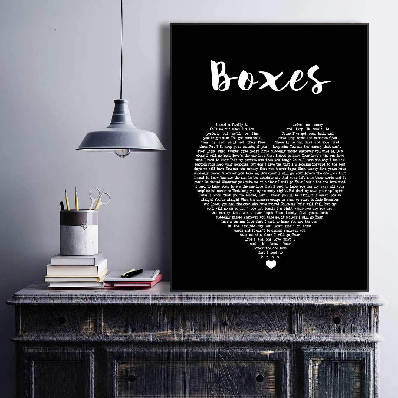 Boxes Black Heart Song Lyric Art Music Quote Gift Poster Print