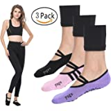 LaLaAreal Women Yoga Socks Non Slip Skid Fashion Ankle Anti-Slip Sock Dance Trainer Sport with Grips Cotton by (3 Pairs)