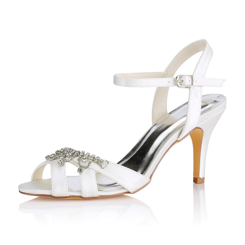 Emily Bridal Elfenbein Hochzeit Schuhe Peep Toe Strass Schnalle Detail Brautschuhe Mutter Schuhe