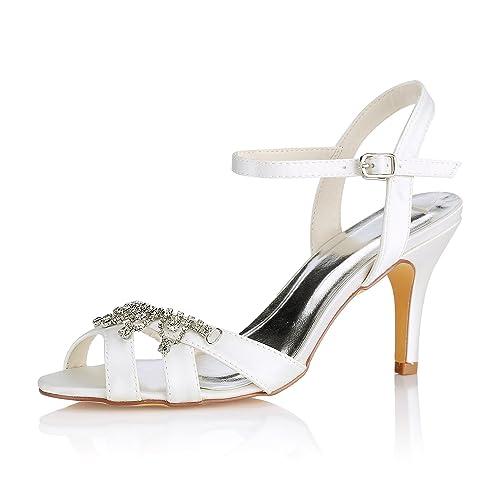 Emily Bridal Ivory Wedding Shoes Peep Toe Rhinestones Buckle Detail Bridal  Shoes Mother Shoes (EU36 90f0858619628