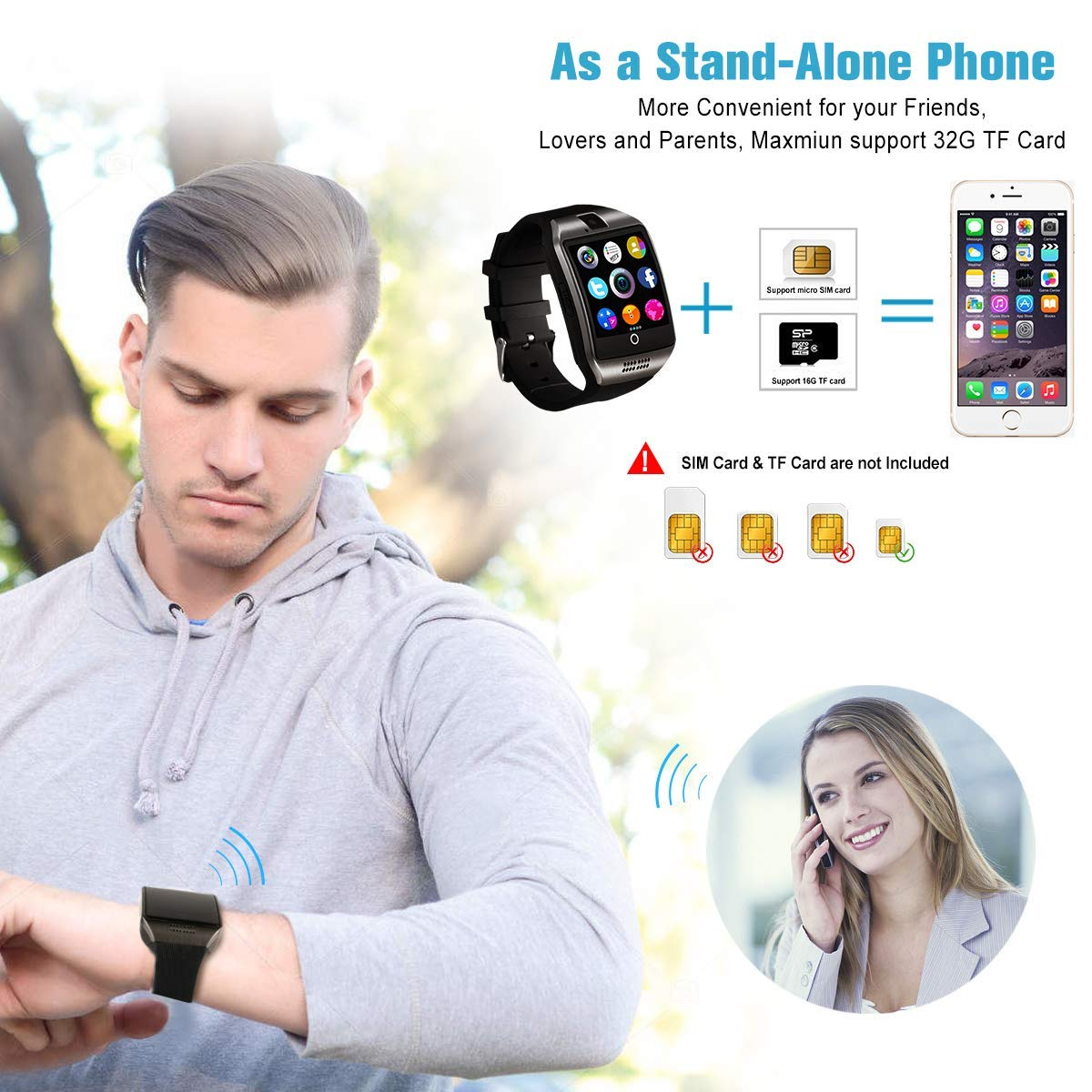 Android Smart Watch for Women Men, 2019 Bluetooth Smartwatch Smart Watches-A9