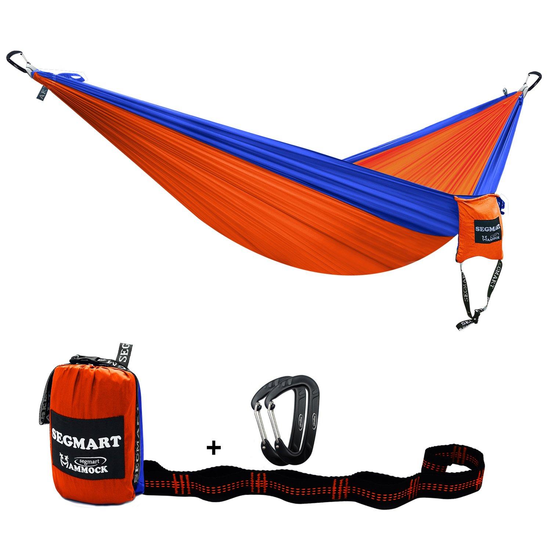 segmartキャンプhammock- Easy Hangingダブルハンモックのツリーストラップ&カラビナ、600lbs B071JVHD7Q ブルー/オレンジ ブルー/オレンジ