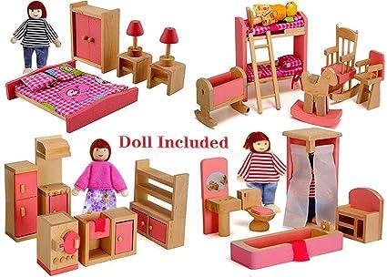 Amazon Com Giraffe Us Wood Family Dollhouse Furniture Set Pink