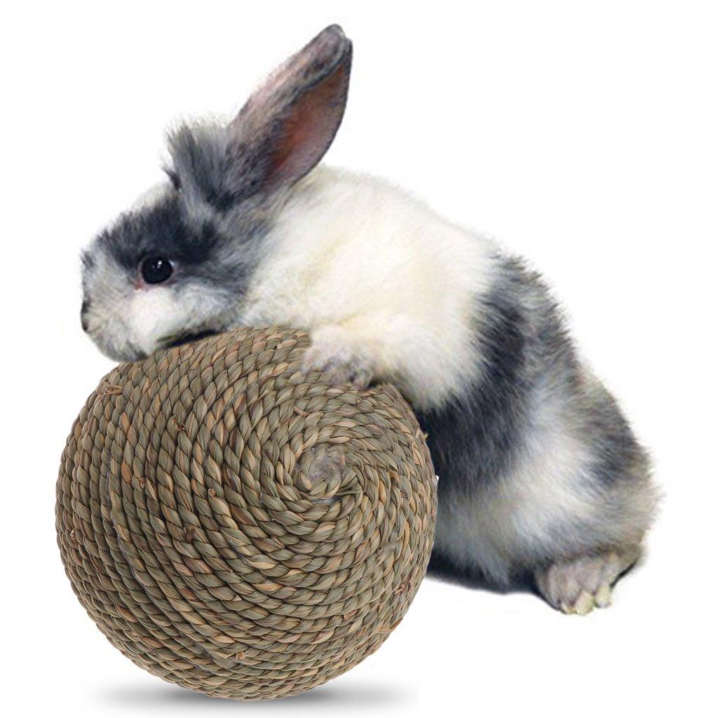 ECMQS Mascotas Masticación Juguete, Naturales Hierba Ball para Conejo hámster cobaya Limpieza Dental