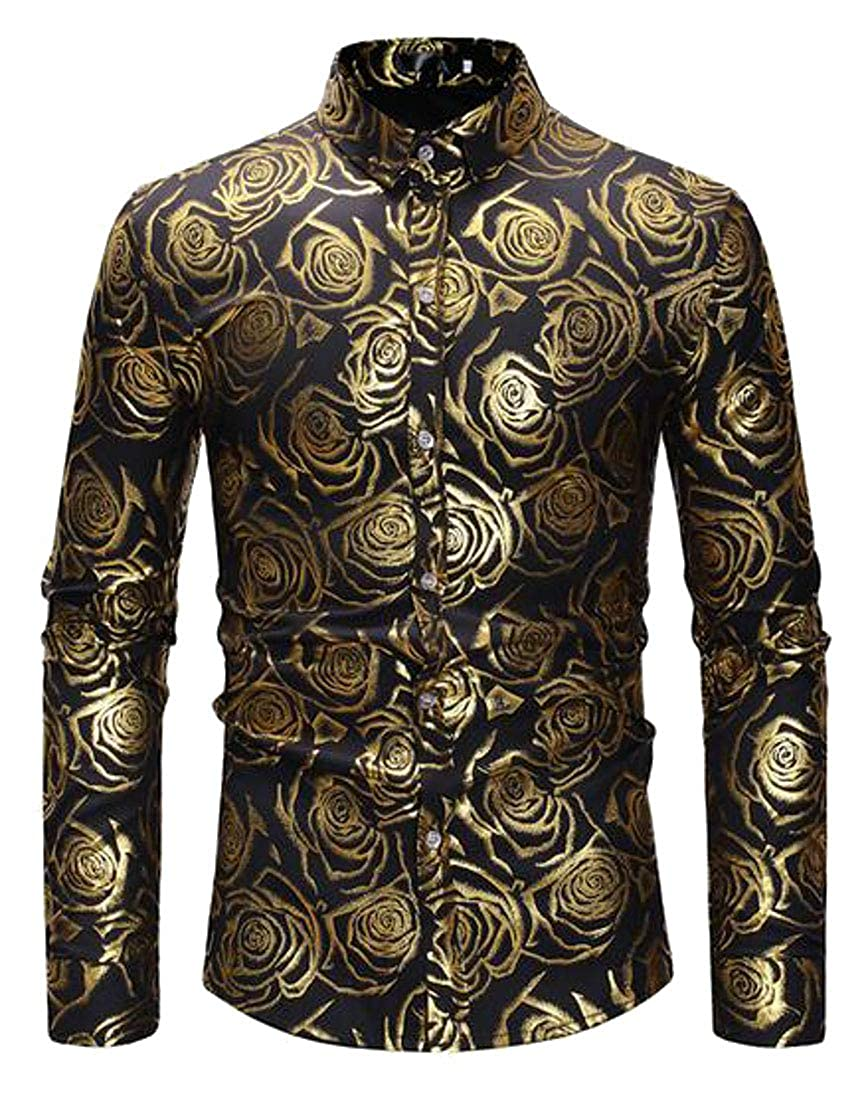 XiaoTianXinMen XTX Mens Casual Business Button Up Slim Fit Long Sleeve Floral Print Dress Work Shirt
