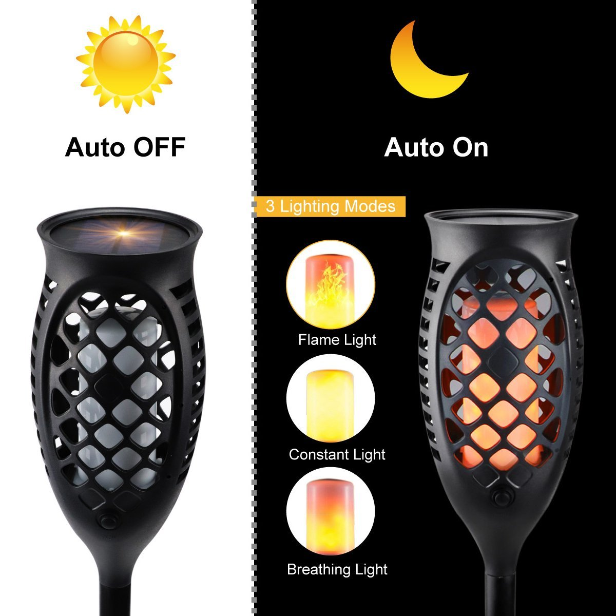 Juhefa Solar Lights Outdoor, Solar Torch Light Flickering Flame 99 LED Waterproof Garden Lighting Pathway Patio Landscape Decoration, 3 Modes & 3 Mounting Options, Dusk to Dawn Auto On/Off (4) by Juhefa (Image #5)