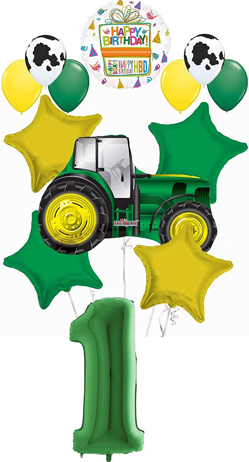 Paper Mache Number 1 Green Tractor Smash Cake Prop Yellow and Black Tractor Photo Prop Farm Birthday Photo Prop Number 1