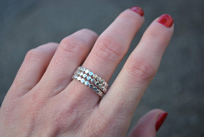 Flat Beaded Stacking Rings .925 Minimalist Jewelry