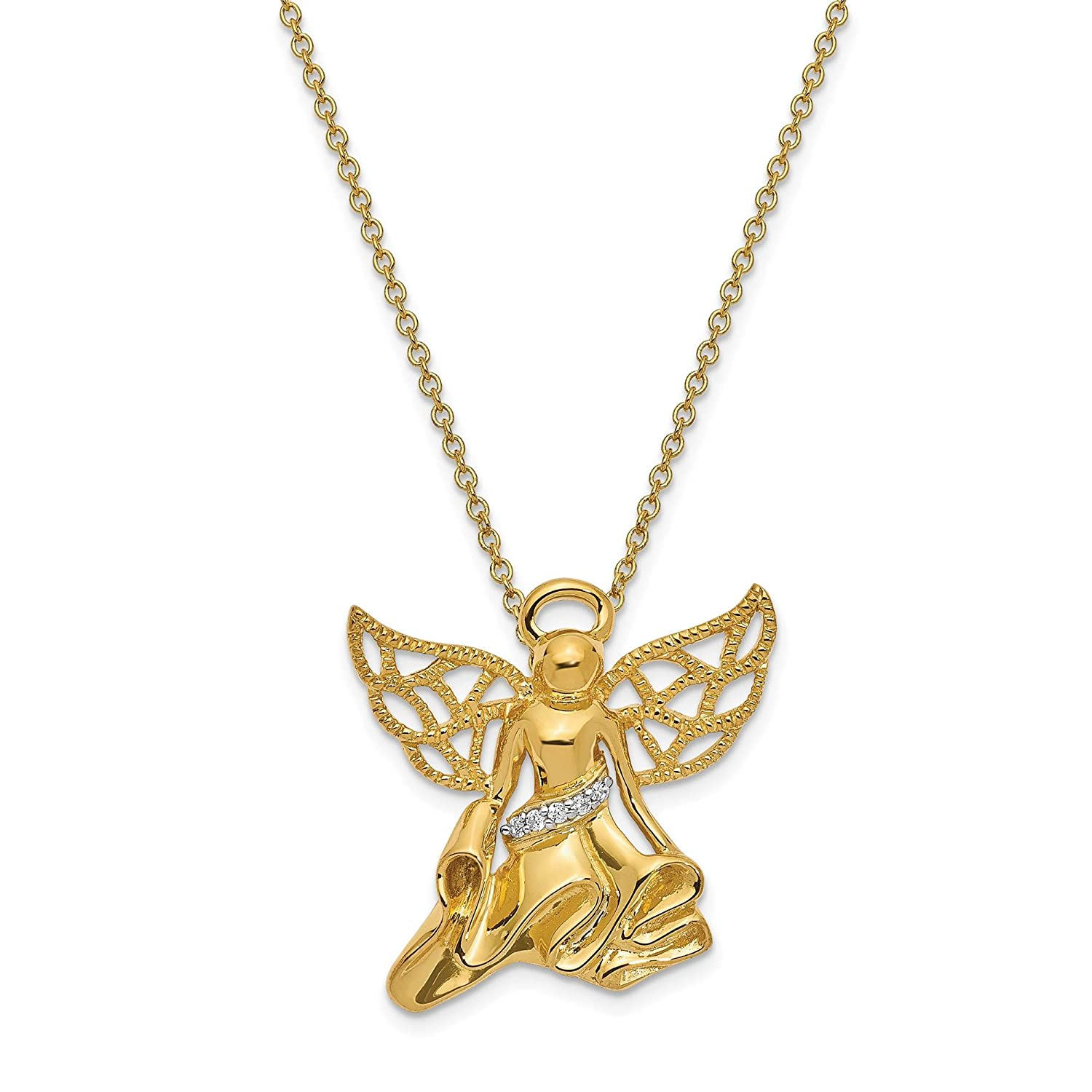 925 Silver w//Gold-tone Polished CZ Angel of Gratitude Pendant Necklace 18 by Sentimental Expressions