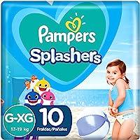 Fraldas Descartáveis Para Água Pampers Splashers Baby Shark G-XG 10 fraldas