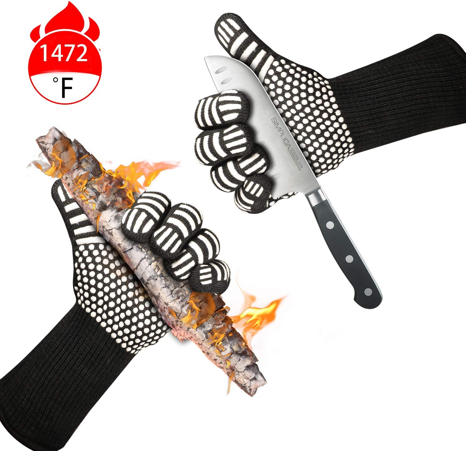 Misphly BBQ Grill Gloves,1472℉ Heat Resistant Oven Mitt Gloves,Oven Silicone Glove Fireproof for Smoker Baking,Extra Long Sleeves to Prevent Forearm Burns Grilling Gloves for Cooking (White)