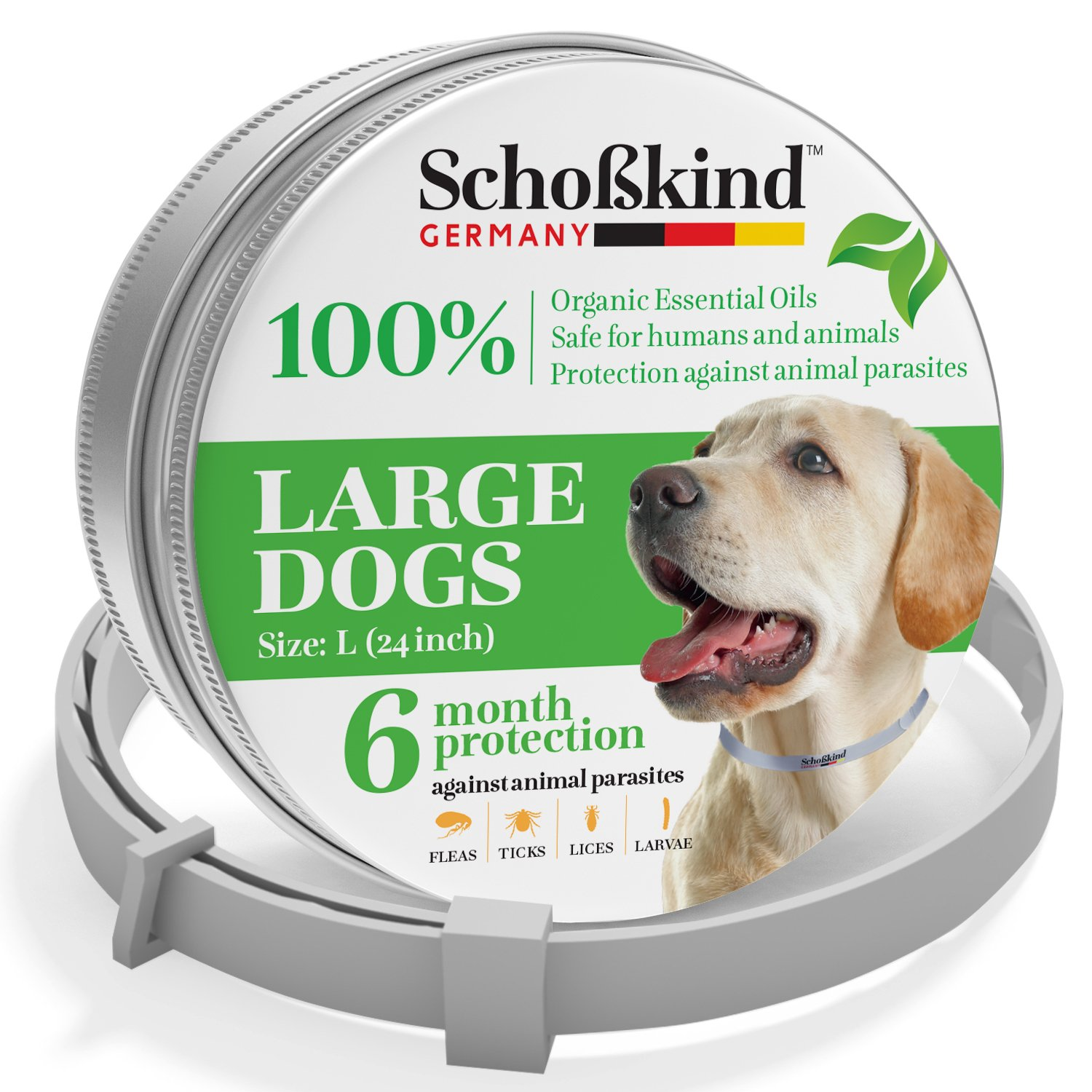 Organic Way Flea and Tick Collar for Dogs - Made for Germany - 100% Safe & Eco-Friendly - Based on Natural Oils - Flea and Tick Prevention Pets - 6-Month Protection - Waterproof Dog Flea Collar (2B)