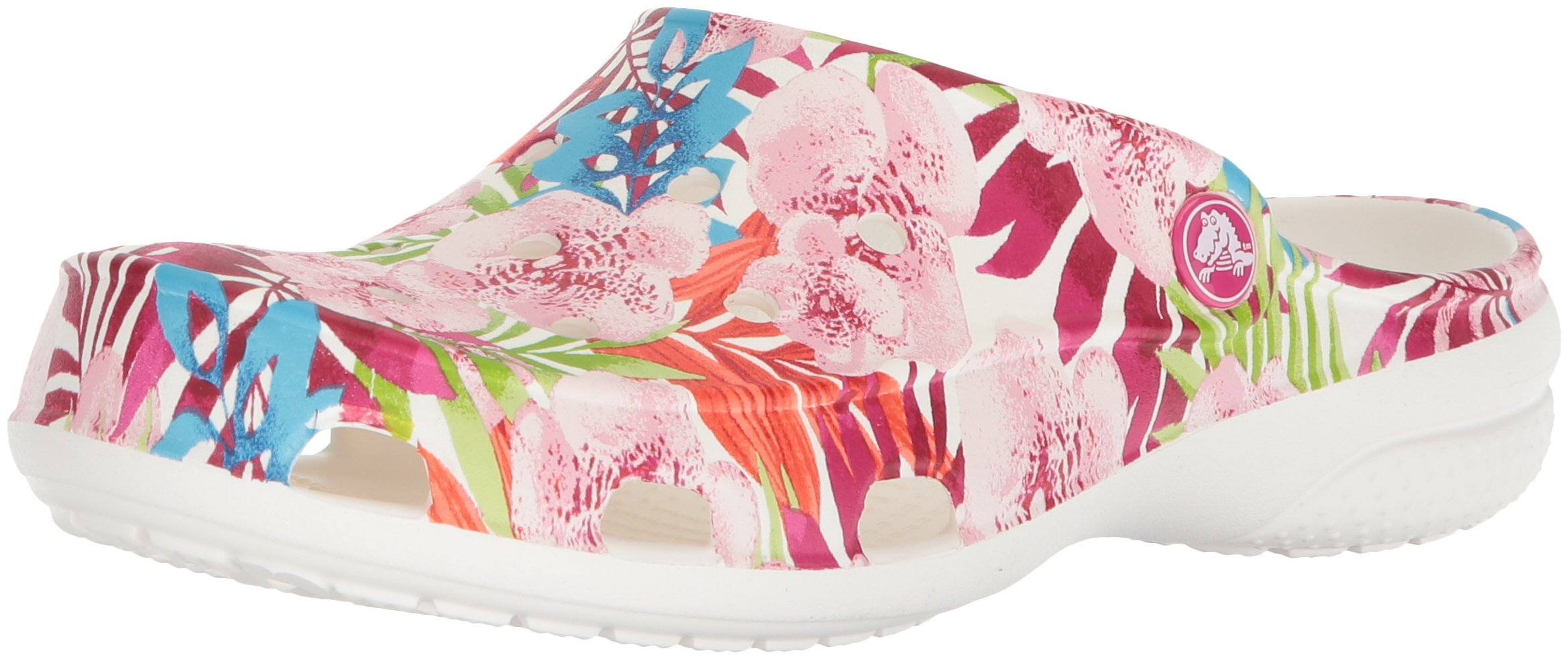 Crocs Freesail Women's Graphic Clog, Tropical Floral/White, 9 M US