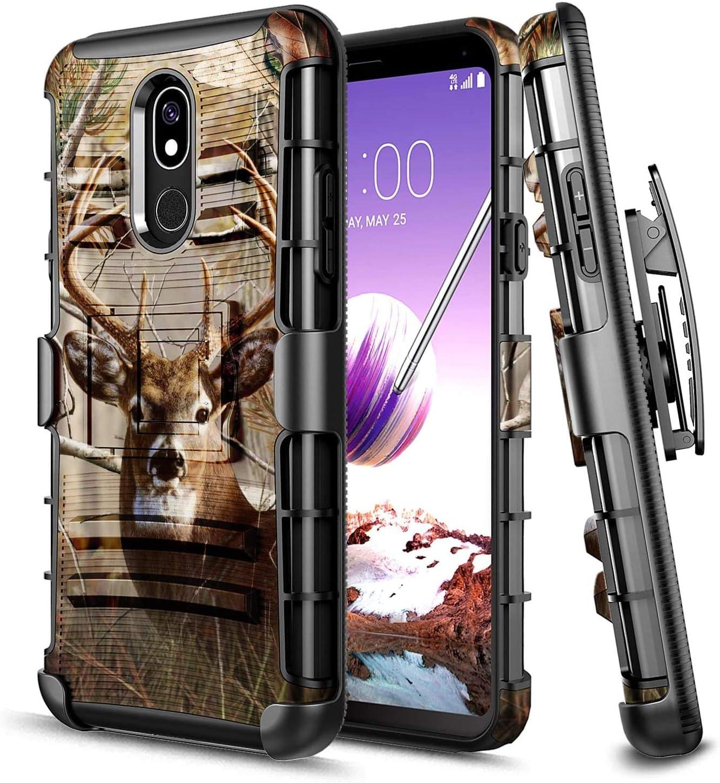 E-Began Case for LG Journey LTE L322DL, Neon Plus/Aristo 4+ Plus/Escape Plus/Tribute Royal/Prime 2/Arena 2/K30 2019, Belt Clip Holster Kickstand Heavy Duty Armor Defender Shockproof Rugged Case -Deer