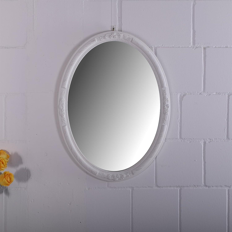 DESIGN DELIGHTS Barock Spiegel MIA | Oval, 77 cm, mit weißem Rahmen ...