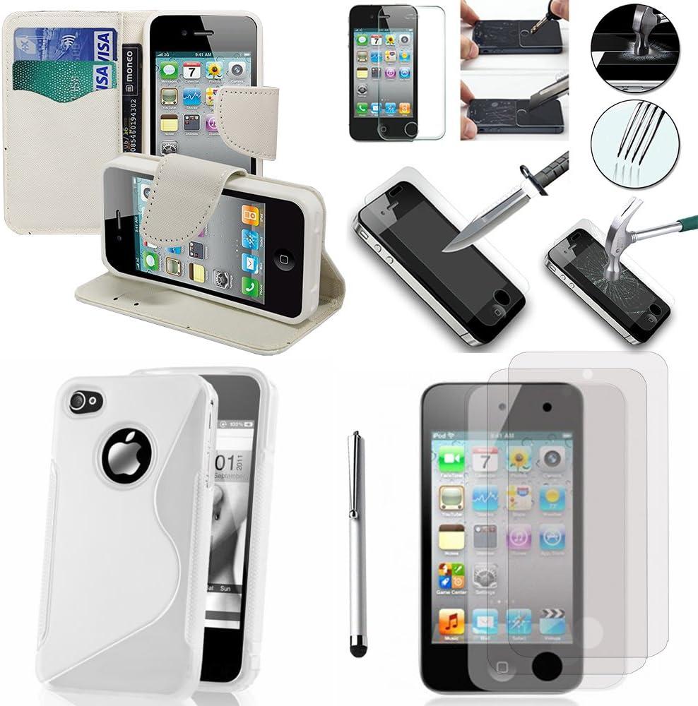 Apple iPhone 4/4S/4 g: juego de accesorios para funda de silicona, lápiz capacitivo, protector de pantalla de vidrio templado con soporte para vídeo, color blanco: Amazon.es: Electrónica