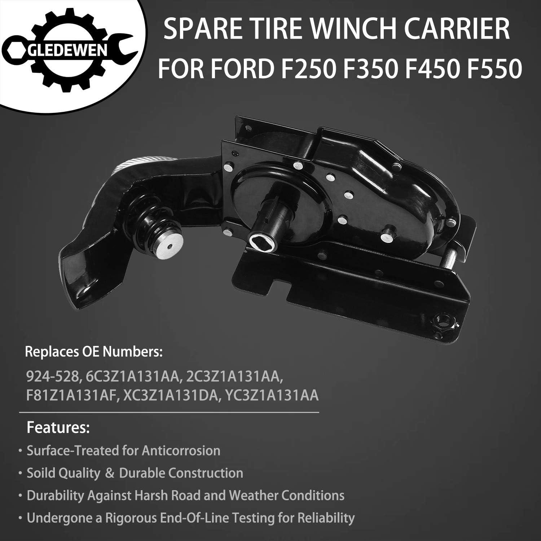 OCPTY Spare Tire Hoist Winch Carrier Holder Fit for 2008-2009 F-250 2008-2016 F-250 Super Duty F-350 F-350 Super Duty F-450 Super Duty F-550 Super Duty