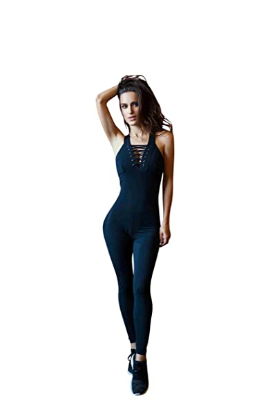 Amazon.com: DF diseñado para Fitness Negro Corset Jumpsuits ...
