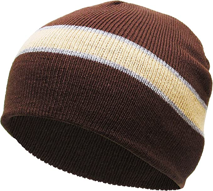ce0b9adb7698e KBW-01 BRN Striped Short Beanie Skull Cap Solid Color Men Women Winter Ski  Hat