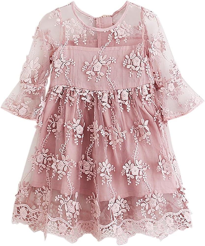 Brightup Kinder Mädchen Spitze Rüschen Ärmel Stickerei Kleid Weiß/Rosa  Party Kleid Sommerkleid, Urlaub Strandkleid für 20-20 Jahre