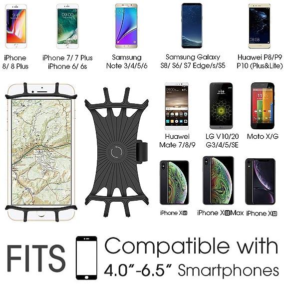 VUP Soporte de silicona para teléfono móvil para iPhone X/8 Plus/8/7 Plus, Galaxy S8 Plus, Nexus, Nokia, LG, universal para manillar de motocicleta y ...