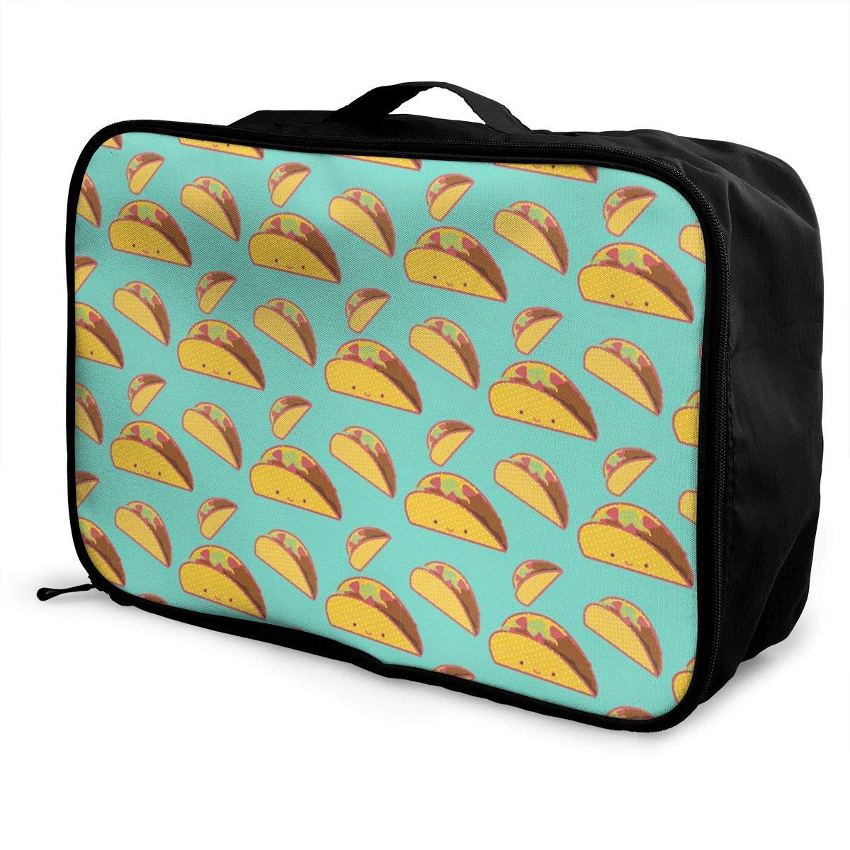 Portable Luggage Duffel Bag Taco Pattern Travel Bags Carry-on In Trolley Handle