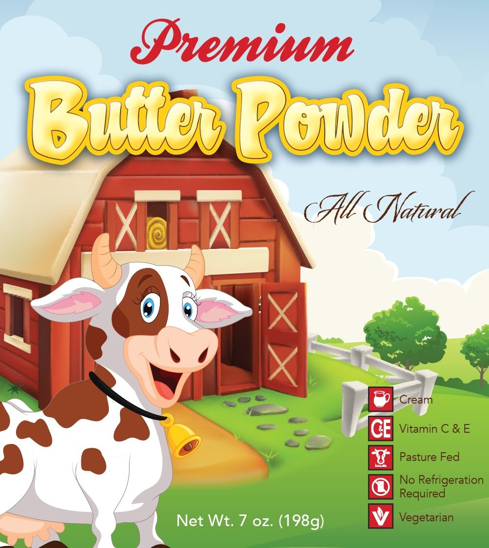 Premium Pasture Fed Butter Powder, 33 Servings, Made From Cream From Pasture Fed Cows, All Natural, No Refrigeration Needed, 7 Ounce