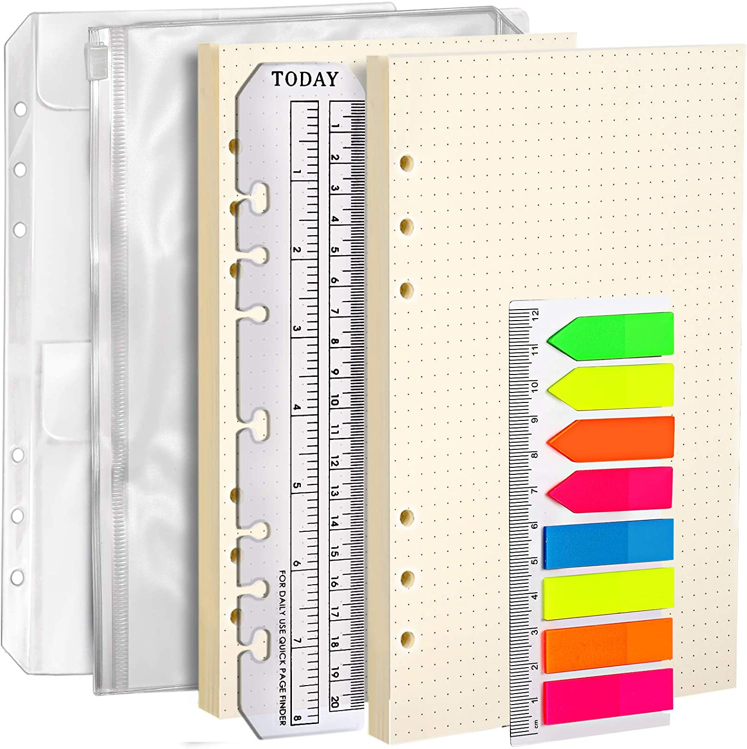 2 Pack A5 Refill Paper /& 2 Pieces A5 Loose-Leaf Pockets /& 1 Pack 160 Pieces Index Tabs with Ruler LEOBRO A5 6 Holes Refillable Craft Paper for 6-Ring Binder Leather Journal Notebooks