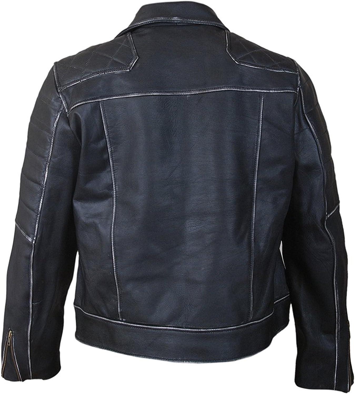SALTONI Mens Black Biker Style Vintage Style Leather Jacket