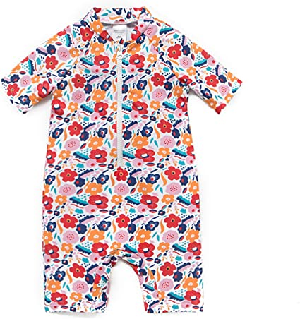Baby Girls Sunsuit UPF 50+ Sun Protection One Pieces Short Sleeves Swimwear with Sun Hat(Red Flowers,6-9Months