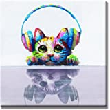 SEVEN WALL ARTS - Modern Animal Artwork 100% Hand-painted Oil Painting Cute Cat Painting Stretched and Framed Ready to Hang for Living Room 24 x 24 Inch