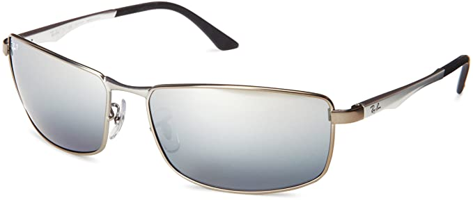 fb88014e717 Ray-Ban RB3498 - MATTE GUNMETAL Frame POLAR GREY SILVER MIRROR Lenses 64mm  Polarized