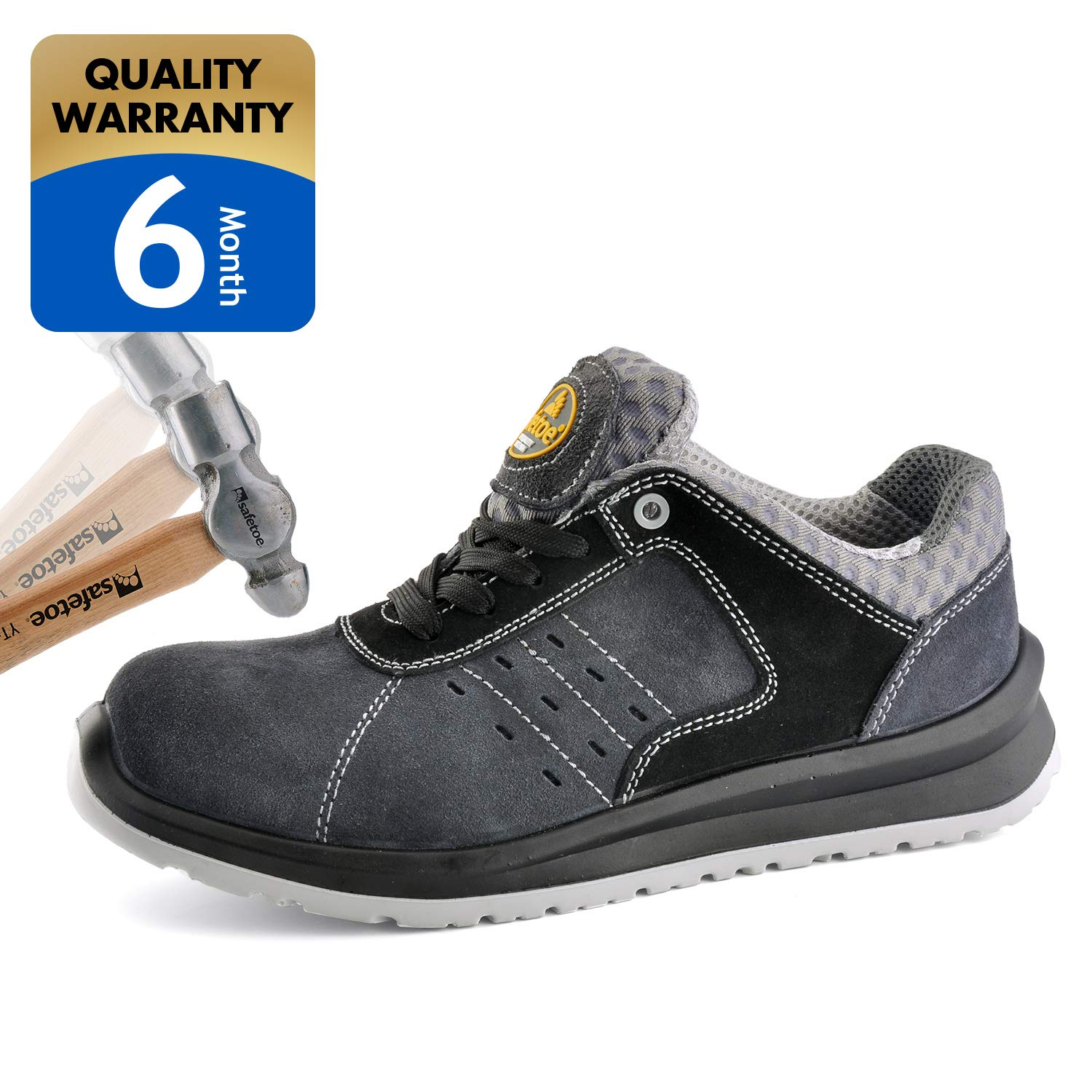 SAFETOE Men's Work Safety Shoes,Lightweight Sport Industrial and Construction Composite Toe Shoes