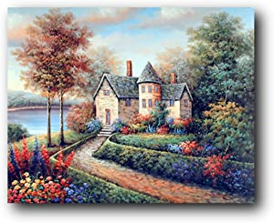 Rustic Wall Decor Country Cottage Lake Landscape Fine Art Print Poster (16x20)