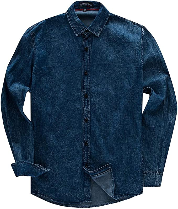 Fanuosums Camisas para Hombre Regular Fit, Camisa Vaquera Camisa de Manga Larga de algodón para Hombres de Gran tamaño. (Color : Azul, tamaño : L): Amazon.es: Hogar