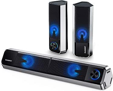 ELEGIANT Altavoces PC Sobremesa, 10W Altavoz Bluetooth 5.0, Barra de Sonido de Ordenador con Sistema Estéreo 2.0 Canales con 4 Modos de Luz LED Ajustables para Escritorio, Ordenador Portátil, Móvil: Amazon.es: Electrónica
