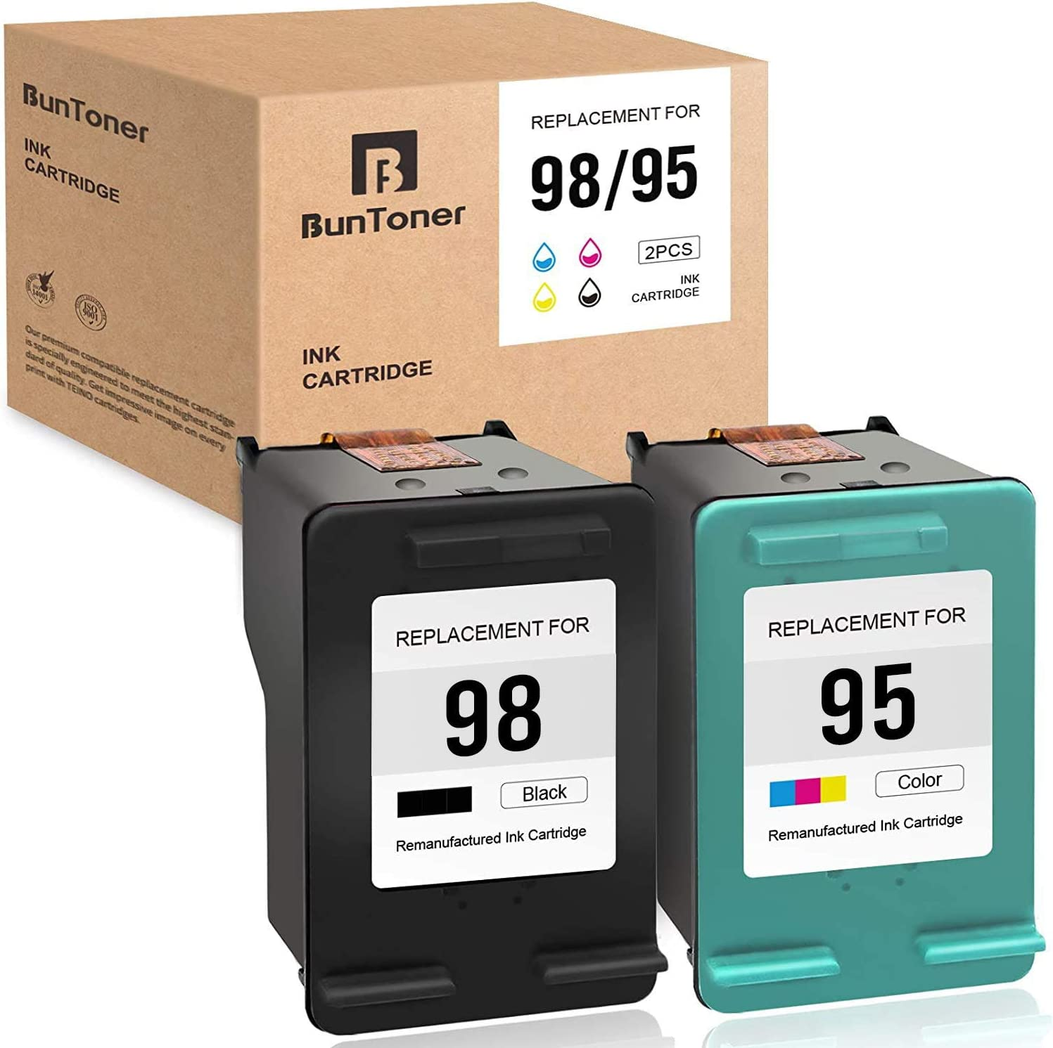 BUNTONER Remanufactured Ink Cartridges Replacement for HP 98 95 C9364WN C8766WN use with HP OfficeJet 100 150 H470 DeskJet 5940 PhotoSmart 2575 C4180 2570 D5069 C4100 (Black, Tri-Color, 2-Pack)