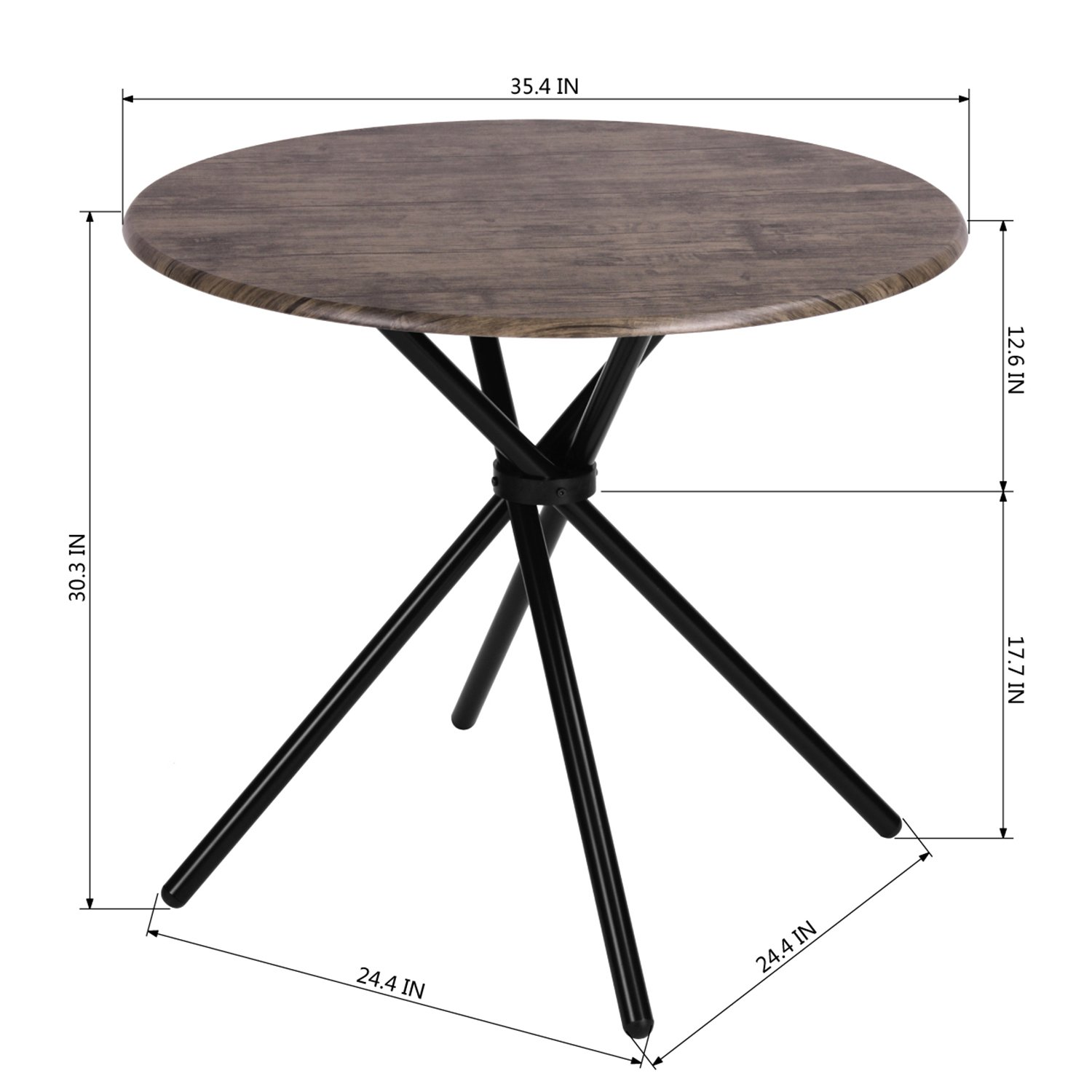 Kitchen Dining Table Industrial Brown Round Mid-Century Wood Coffee Table Office Home Easy-Assembly 35.4x35.4x29.5 Inches for for Living Drawing Receiving Room by Coavas (Image #4)