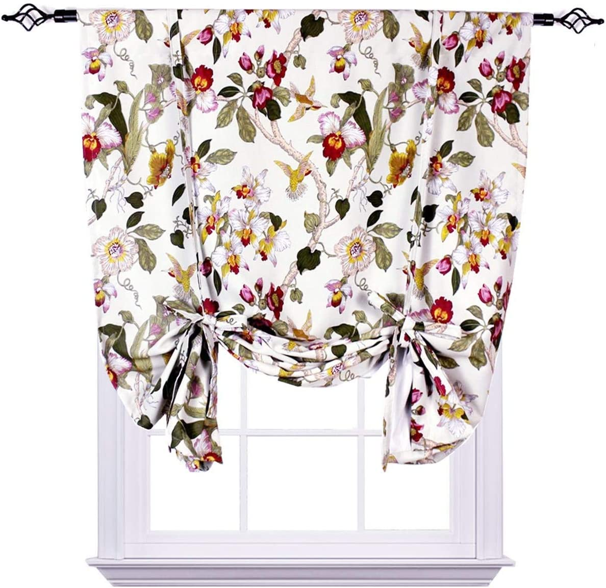 MYRU Flora Tie Up Curtain, Flowers Birds Retro Room Darkening Blackout Curtain, Adjustable Balloon Curtain for Kitchen Room Bedroom 1 Panel 42 W x 63 L