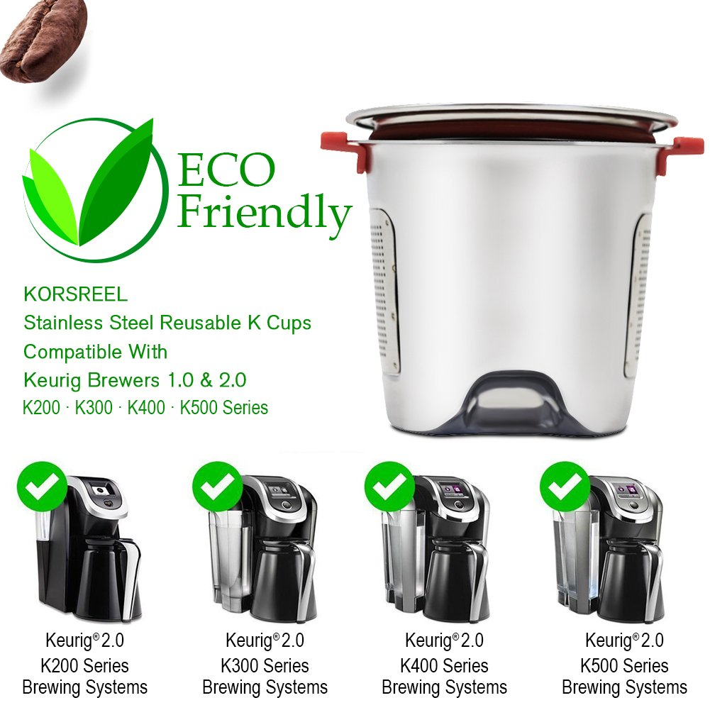 KORSREEL 2 Piece Premium Stainless Steel Reusable K Cups Refillable Coffee Filter, Compatible with Keurig Brewers 1.0 and 2.0 for K200, K300 etc. Series by KORSREEL (Image #5)