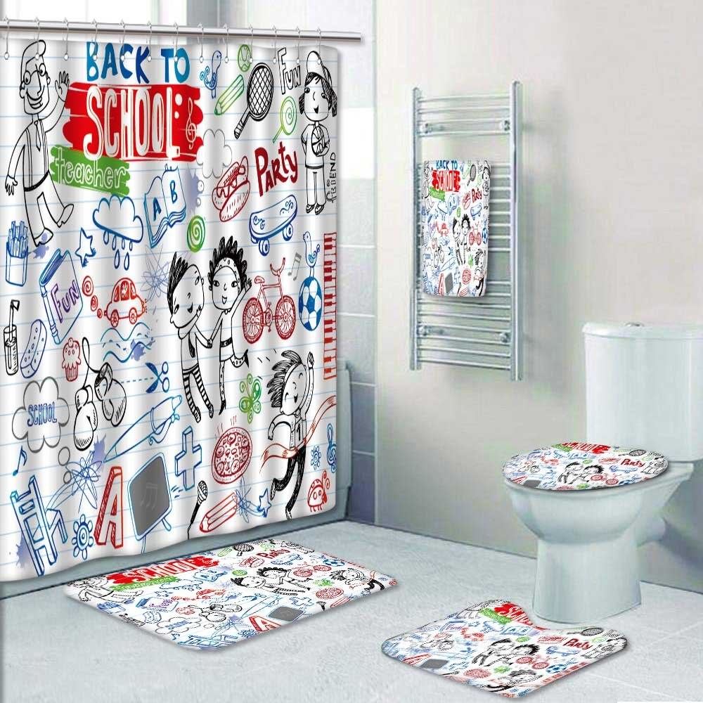 PRUNUSHOME Designer Bath Polyester 5-Piece Bathroom Set,school doodles vector set Print bathroom rugs shower curtain/rings and Both Towels(Large)