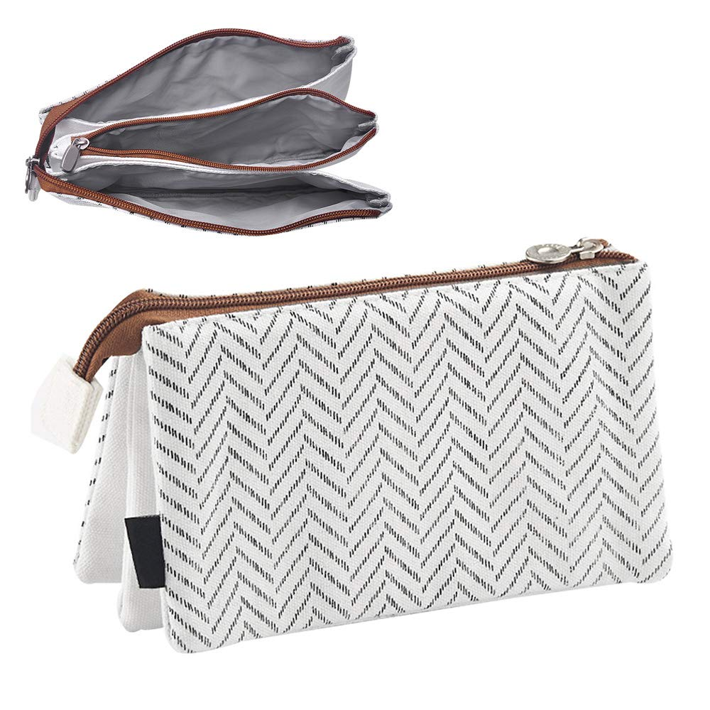 Oyachic Large Capacity Pencil Pen Case 3 Layers Stationery Pouch Zipper Cosmetic Bag Canvas Makeup Organizer Handbag Clutchbag with Large Storage Gray Stripe