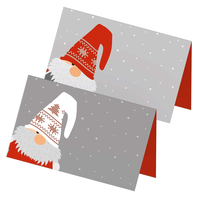 itenga 24x Tischkarten Motiv Wichtelbande Weihnachten Aufsteller Namensschild Platzkarte Figuren Rot Wei/ß Grau