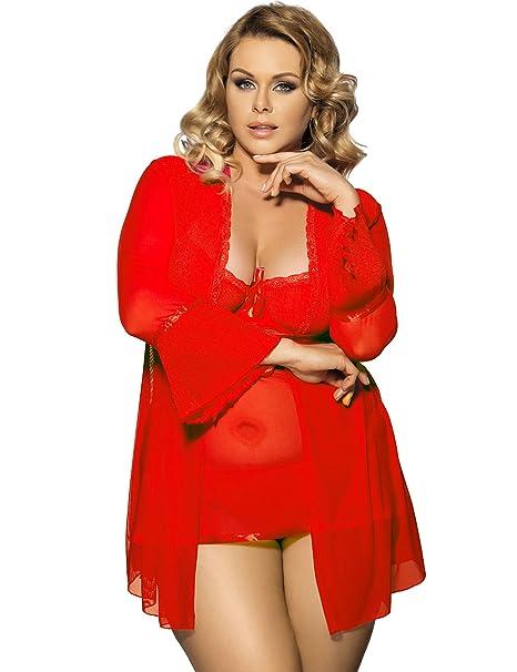 XueXian(TM) Mujer de Ropa Dormir de Vestido y Abrigo de Rojo Interior Vestido