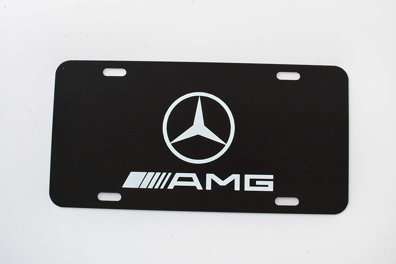 Mercedes Benz Logo Black Stainless Steel Front License Plate Cover,with Screw Caps Cover Set Suit,Applicable to US Standard car License Frame. Mercedes Benz