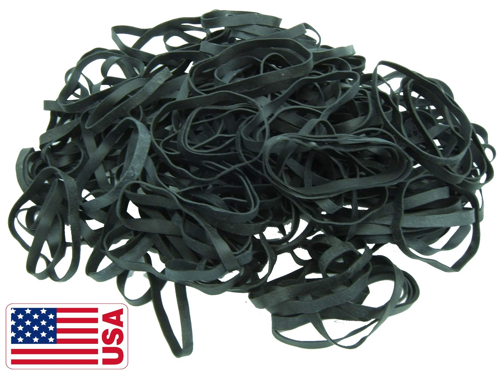 Black High Heat UV Resistant #64 Platinum Crepe Rubber Band Made in USA (3 1/2'' x 1/4'') Large Premium Fishing/Angler 360-390 Count (64-1lb)